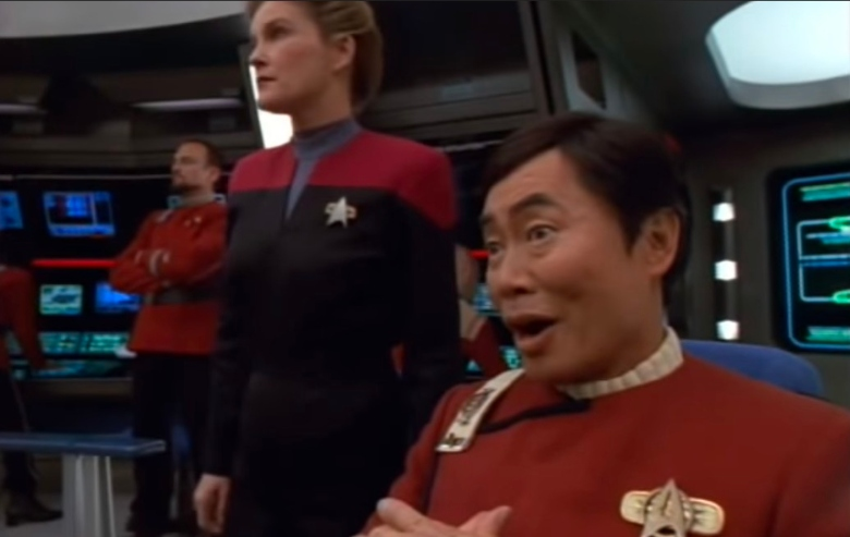 """George Takei as Captain Sulu and Kate Mulgrew as Captain Janeway in """"Star Trek: Voyager"""""""