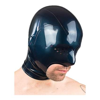 Man wearing latex hood with covered eyes and chin out