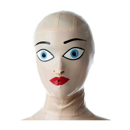 Creepy latex blow up doll mask with painted eyes and no hair
