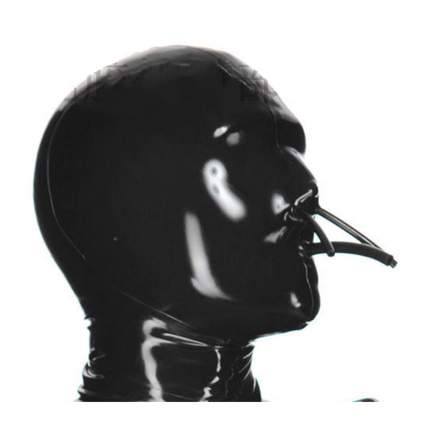 Black zentai hood with nose and mouth straws