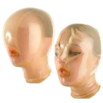 Woman in transparent breath-control kink hood
