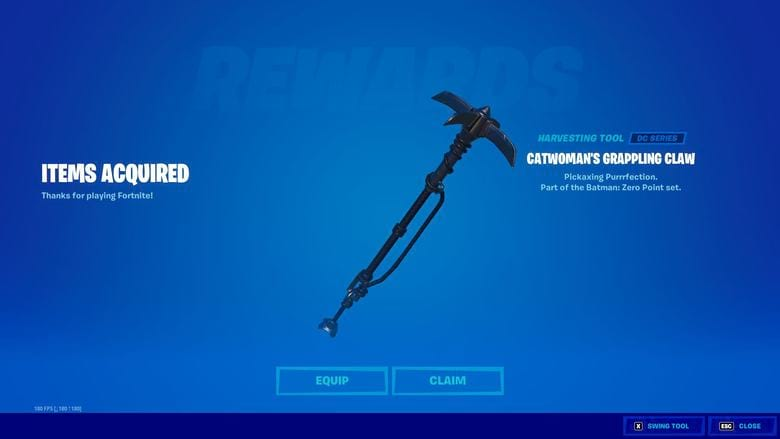 fortnite catwoman's grappling claw pickaxe