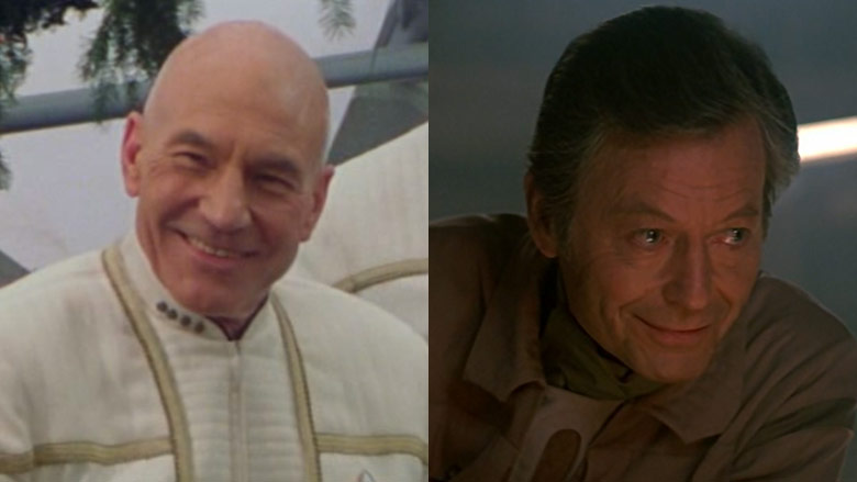 Patrick Stewart and DeForest Kelley
