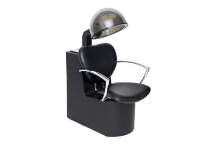 Black dryer chair with chrome arms and hooded dryer