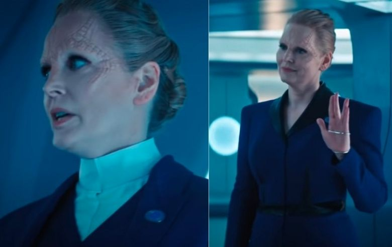 """Screenshots from the """"Star Trek: Discovery"""" season four trailer of a part Cardassian character"""