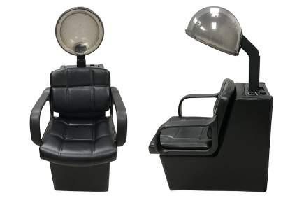 Black salon chair with hair dryer hood
