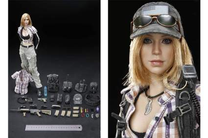 FDCFK female action figure with weapons and clothes