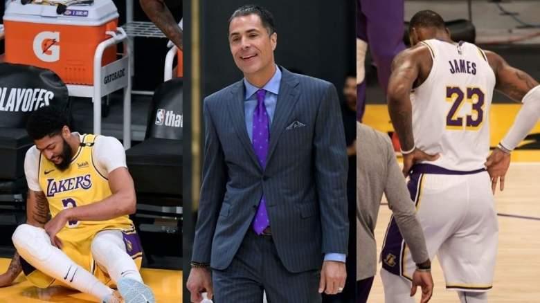 Lakers forward Anthony Davis, GM Rob Pelinka and LeBron James