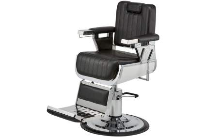Black and silver barbershop chair