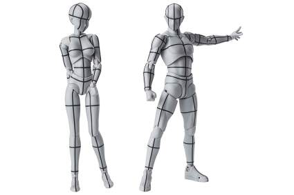 Grey and black Wireframe Body Kun figures