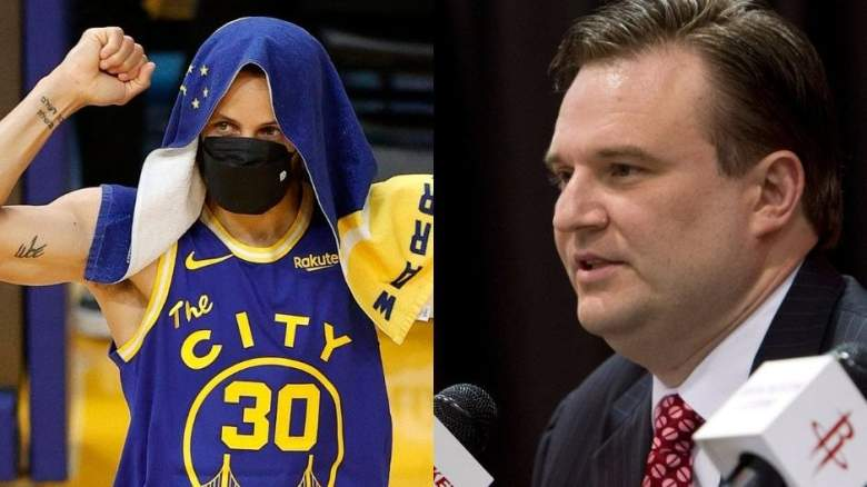 Stephen Curry (left) and Sixers GM Daryl Morey