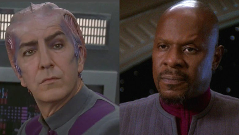 Alan Rickman as Dr. Lazarus and Avery Brooks as Captain Sisko