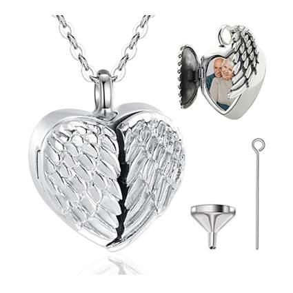 angel wing cremation locket