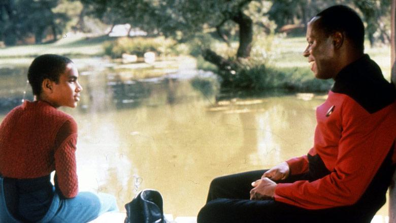 Jake (Cirroc Lofton) and Benjamin Sisko (Avery Brooks).
