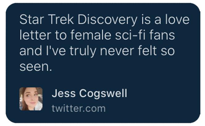 A recent tweet by Trek fan @jesscogswell