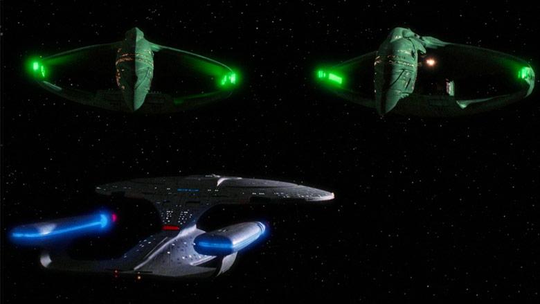 The Enterprise-D versus two Romulan War Birds.