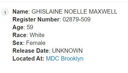 ghislaine maxwell prison records