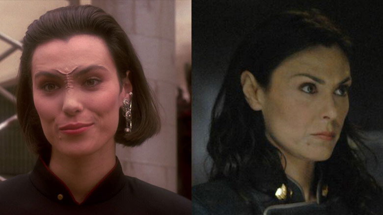 Michelle Forbes as Ensign Ro (left) and Admiral Cain (right).