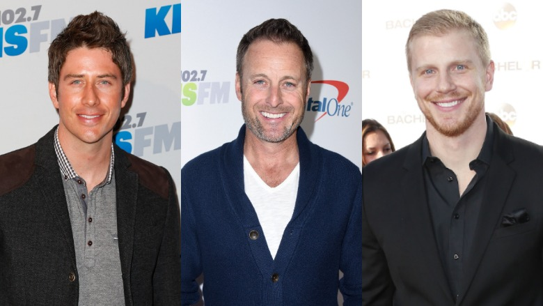 Stars of The Bachelor Arie Luyendyk and Sean Lowe with Chris Harrison.