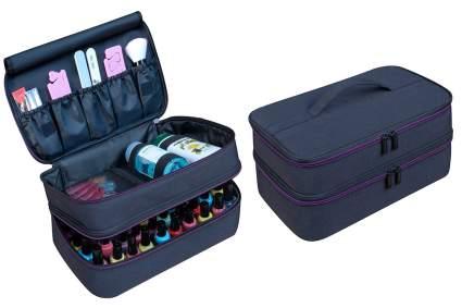 Black two-compartment nail polish holder