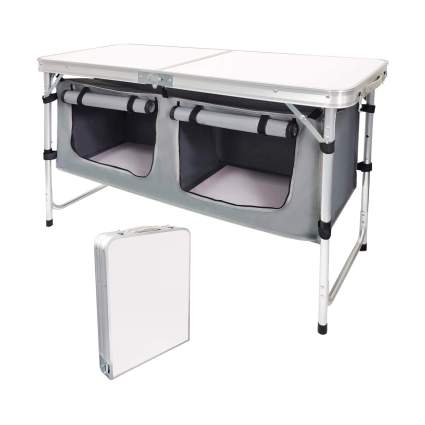 Camp Field Camping Table with Adjustable Legs and Canvas Storage Chamber