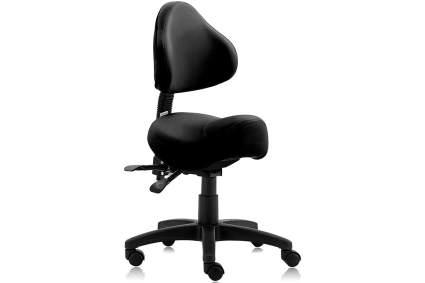 Black saddle stool with backrest
