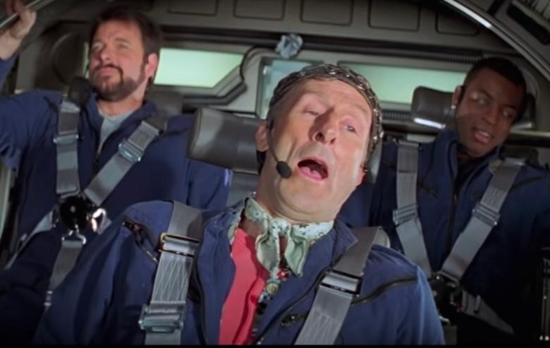 "Jonathan Frakes as Commander William Riker, LeVar Burton as Geordi LaForge, and James Cromwell as Zefram Cochrane in ""Star Trek: First Contact"""