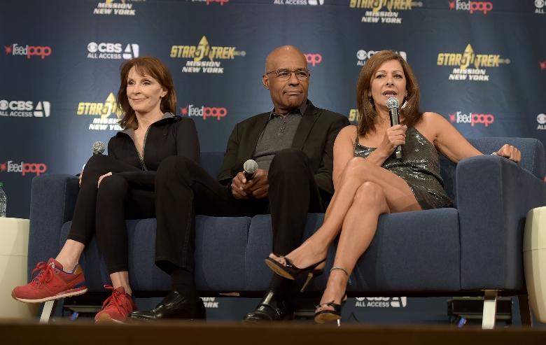 Gates McFadden, Michael Dorn and Marina Sirtis speak during the Star Trek: Mission New York event at Javits Center