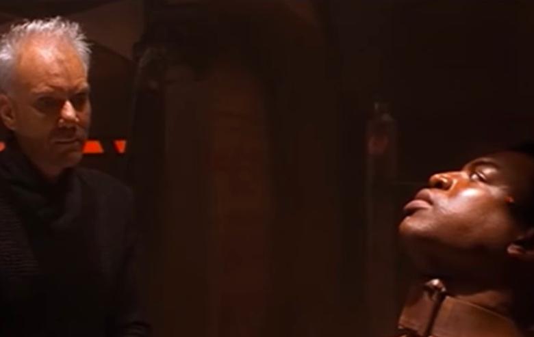 "The interrogations scene with Malcom McDowell as Soran and LeVar Burton as Geordi La Forge from ""Star Trek: Generations"""