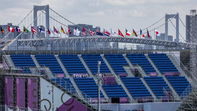 Rainbow Bridge stands in the distance behind Ariake Urban Sports Park in Tokyo, Japan.