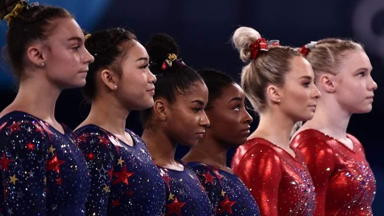 USA's Grace McCallum, Sunisa Lee, Jordan Chiles, Simone Biles, McKayla Skinner, and Jade Carey at the 2021 Olympics