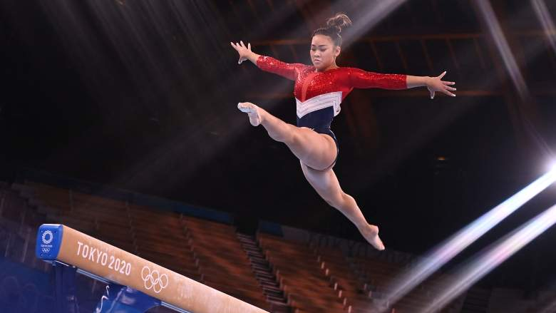 USA's Sunisa Lee competes in the balance beam event of the artistic gymnastics women's team final