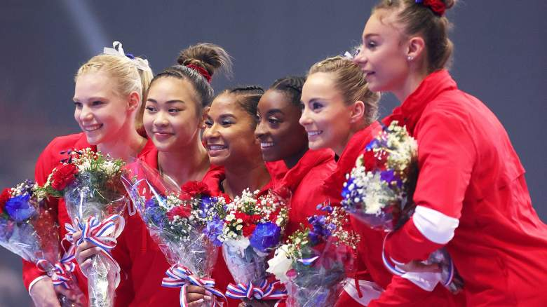 (L-R) Jade Carey, Sunisa Lee, Jordan Chiles, Simone Biles, Mykayla Skinner and Grace McCallum, the women that will represent Team USA