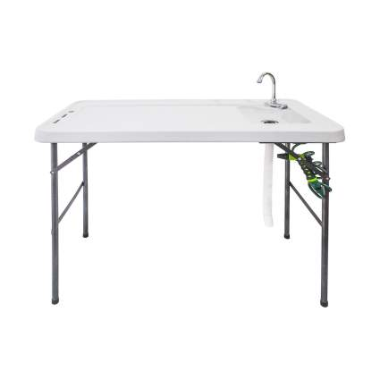 Goplus Folding Fishing and Hunting Cleaning Table with Faucet and Sprayer