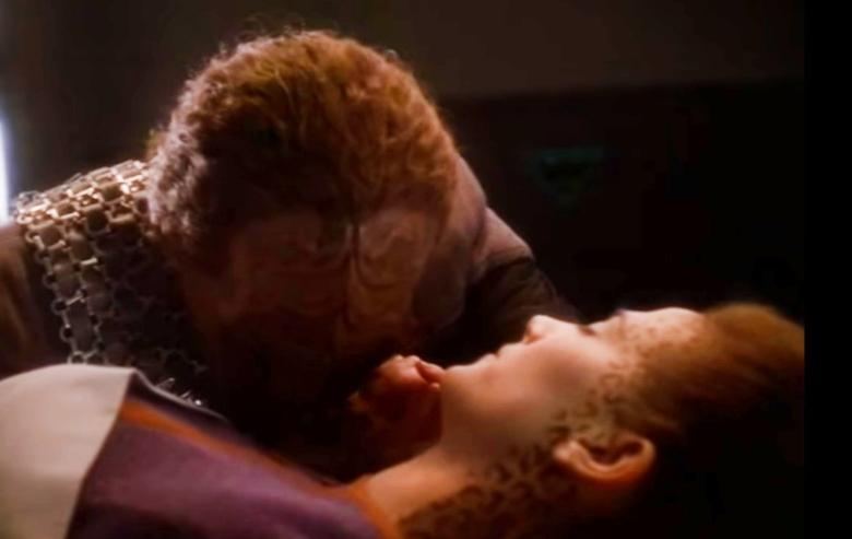Screenshot of the scene in which Jadzia Dax dies