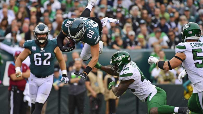 Dallas Goedert tackled by New York Jets