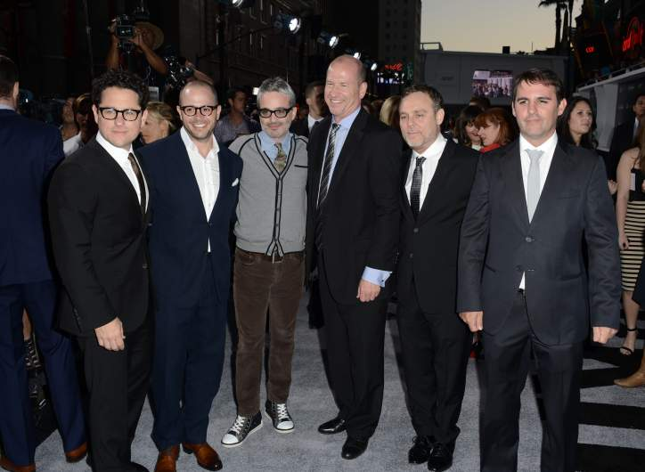 """Director/Producer J.J. Abrams, Co-Writers/Producers Damon Lindelof, Alex Kurtzman, Paramount Pictures Vice Chairman Rob Moore, Producer Bryan Burk and Co-Writer/Producer Roberto Orci arrive at the Premiere of Paramount Pictures' """"Star Trek Into Darkness"""""""