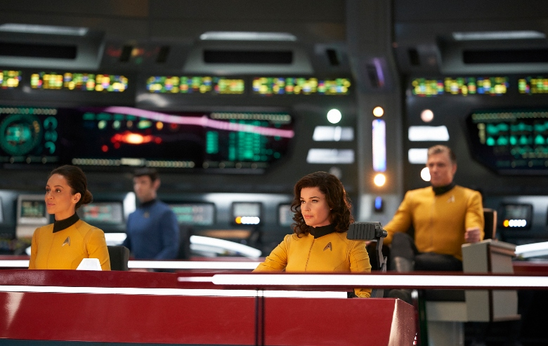 Samora Smallwood as Lt. Amin; Ethan Peck as Spock; Rebecca Romijn as Number One; Anson Mount as Captain Pike of the CBS All Access series STAR TREK: DISCOVERY