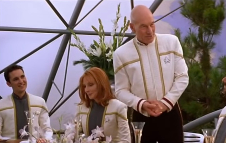 """Wil Wheaton as Wesley Crusher, Gates McFadden as Beverly Crusher, and Patrick Stewart as Captain Jean-Luc Picard in """"Star Trek: Nemesis"""""""