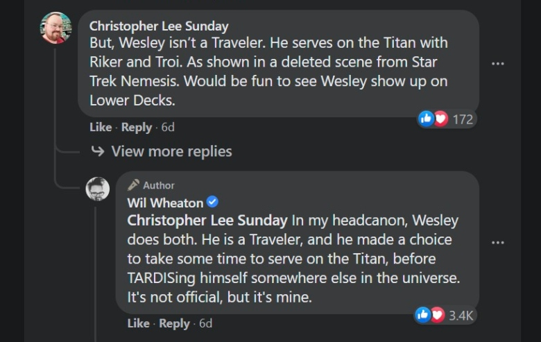 Screenshot of Facebook comments on Wil Wheaton's Facebook page