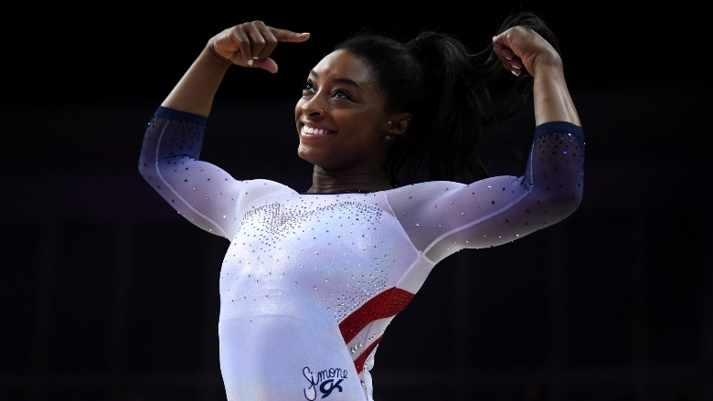 Simone Biles flexing.