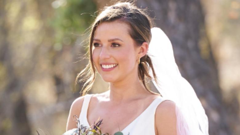 Katie Thurston in a wedding dress.