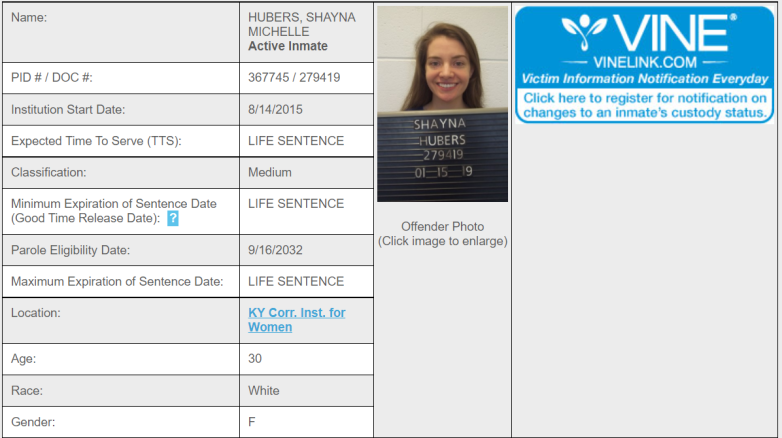 shayna huber prison record