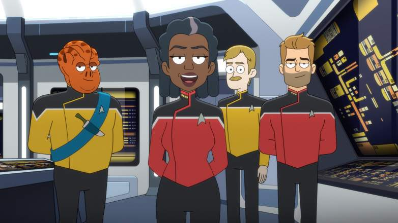 Carl Tart as Lieutenant Kayshon, Dawnn Lewis as Captain Carol Freeman and Jerry O'Connell as Commander of the Paramount+ series STAR TREK: LOWER DECKS.