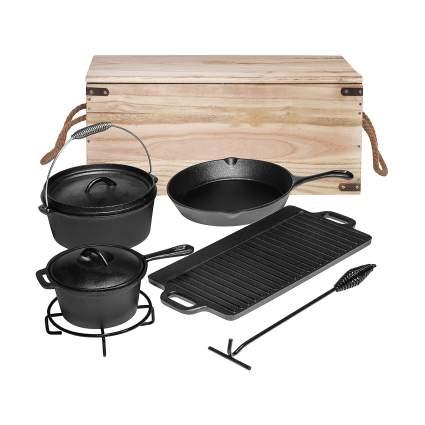Bruntmor Pre-Seasoned 7 Piece Heavy Duty Cast Iron Dutch Oven Camping Cooking Set