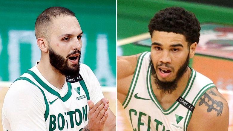 Jayson Tatum reacts to Evan Fournier's Celtics Exit