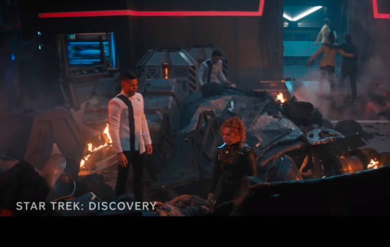 """Screenshot from the """"Star Trek: Discovery"""" season 4 trailer in which the bridge of the ship is destroyed"""