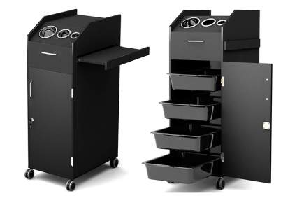 Black trolley cart with open door and drawers