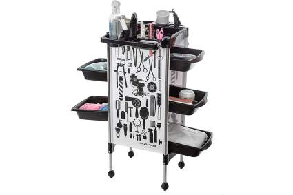 Rolling cart with hair salon design