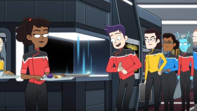 Tawny Newsome as Ensign Beckett Mariner and Jack Quaid as Ensign Brad Boimler of the Paramount+ series STAR TREK: LOWER DECKS
